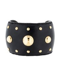 Louis Vuitton - Metallic Leather Studded Bracelet Black - Lyst
