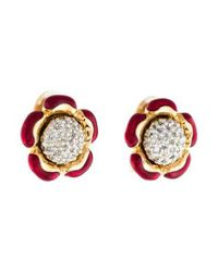Judith Leiber - Metallic Crystal & Enamel Floral Clip-on Earrings Gold - Lyst