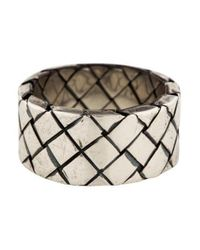 Bottega Veneta - Metallic Intrecciato Ring Silver - Lyst