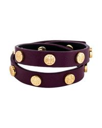 Tory Burch - Metallic Double Wrap Logo Stud Bracelet Gold - Lyst