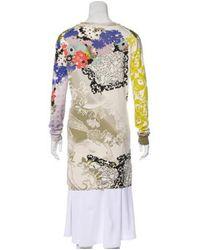 Etro - Multicolor Silk Print Cardigan Coral - Lyst