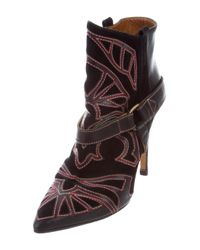 Isabel Marant - Metallic Embroidered Ankle Boots Black - Lyst