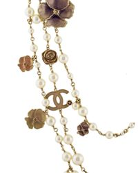 Chanel - Metallic Faux Pearl, Enamel & Crystal Multistrand Necklace Gold - Lyst