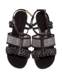Proenza Schouler | Gray Leather Ankle Strap Sandals Black | Lyst