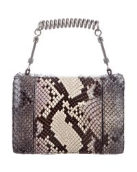 Roberto Cavalli - Metallic Small Studded Snakeskin Handle Bag Grey - Lyst