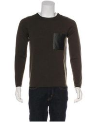 Sandro - Green Knitted Wool Pocket Sweater Olive for Men - Lyst