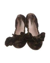 Miu Miu - Brown Miu Bow-accented Velvet Flats - Lyst