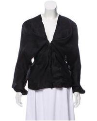 Lanvin - Black Silk Ruched Blouse - Lyst