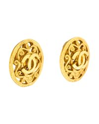 Chanel - Metallic Cc Circle Clip-on Earrings Gold - Lyst
