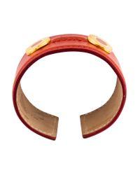 BVLGARI - Metallic Wide Leather Cuff Gold - Lyst