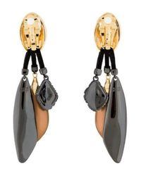 Alexis Bittar - Metallic Lucite & Crystal Drop Clip-on Earrings Gold - Lyst