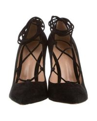 Gianvito Rossi - Black Pointed-toe Lace-up Pumps - Lyst