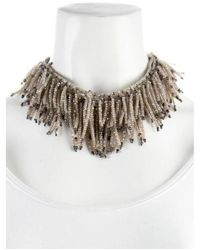 Brunello Cucinelli - Metallic Quartz Fringe Collar Necklace Silver - Lyst