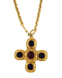 Chanel - Metallic Resin Pendant Necklace Gold - Lyst