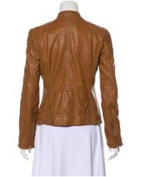 MICHAEL Michael Kors - Natural Michael Kors Leather Biker Jacket Brown - Lyst