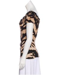Roberto Cavalli - Brown Short Sleeve Knit Top - Lyst