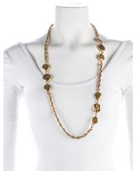 Chanel - Metallic Coco Mademoiselle Medallion Station Necklace Gold - Lyst