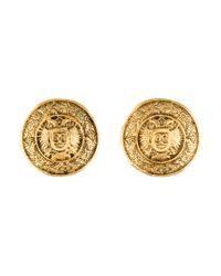 Chanel - Metallic Large Cc Medallion Earrings Gold - Lyst
