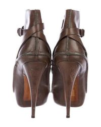 Givenchy - Brown Leather Platform Ankle Boots - Lyst