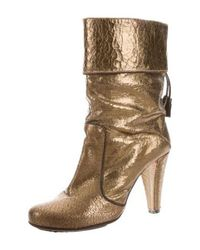 CoSTUME NATIONAL - Metallic Leather Mid-calf Boots Gold - Lyst