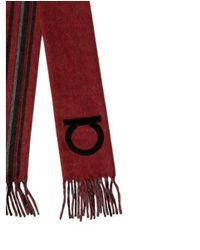 Ferragamo - Gray Cashmere Gancini-embroidered Scarf Grey for Men - Lyst