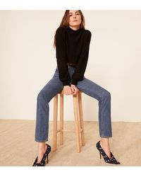 Reformation Blue Brooke High Straight Zip Jean