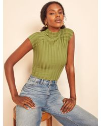 Reformation Green Giselle Top