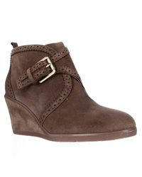 Franco Sarto | Brown Arielle Wedge Ankle Booties | Lyst