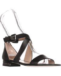 Michael Kors Black Michael Sabrina Chain Heel Strappy Flat Sandals