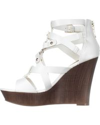 Guess - White G By Dodge Strappy Wedge Sandals - Lyst