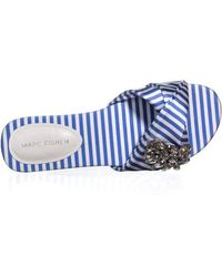Marc Fisher Blue Gallary2 Slip On Flat Sandals