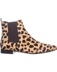 Tory Burch - Brown Orsay Leopard Print Calf Hair Chelsea Booties - Lyst