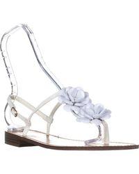 Callisto White Poli T-strap Flower Sandals