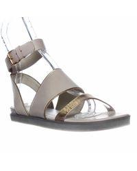 Pour La Victoire | Natural Sabina Ankle Strap Flat Sandals | Lyst