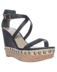 Via Spiga | Black Moss Wedge Ankle Strap Sandals | Lyst