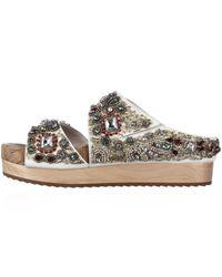 Alice + Olivia White Brianna Leather Sandals