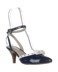 Rialto   Blue Maggie Ankle Strap Low-heel Pumps   Lyst