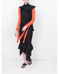 J.W. Anderson Black Sleeveles Ruffle Dress