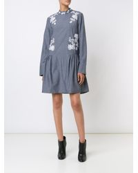 Suno - Gray Macrame Insert Chambray Dress - Lyst