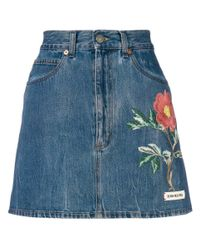 Gucci Blue Floral Embroidery Denim Skirt