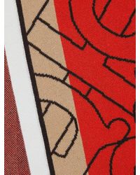 Burberry Red And Beige Cashmere Logo Scarf for men
