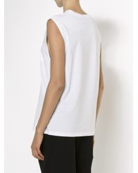 T By Alexander Wang White Chest Pocket Tank Top