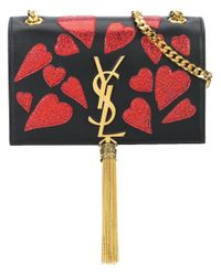 Saint Laurent | Black Cassandre Monogram Heart Leather Cross-Body Bag | Lyst