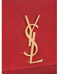 Saint Laurent - Red Monogram Leather Shoulder Bag - Lyst