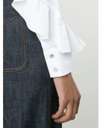 SUNO White Ruffled Sleeves Shirt for men