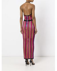 Balmain Red Striped Contrast Trim Dress