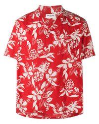 Saint Laurent Red Hibiscus Floral Print Shirt for men