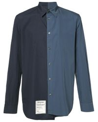 Maison Margiela | Blue Asymmetric Two-tone Shirt for Men | Lyst