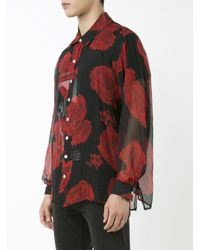 Enfants Riches Deprimes Red Roses Print Silk Shirt for men