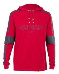 Balmain | Red Logo Cotton Hoodie for Men | Lyst